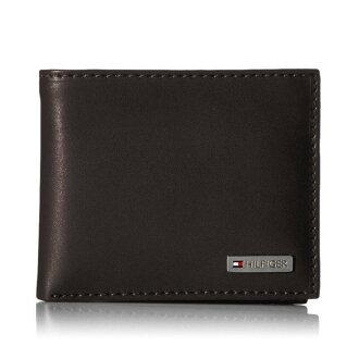美國百分百【全新真品】Tommy Hilfiger 真皮 皮夾 皮包 卡片 TH 短夾 錢包 卡夾 票夾 咖啡 H675