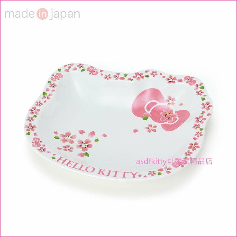 asdfkitty可愛家☆KITTY臉型櫻花陶瓷大湯碗/點心碗-47641-可微波-可用洗碗機-日本製