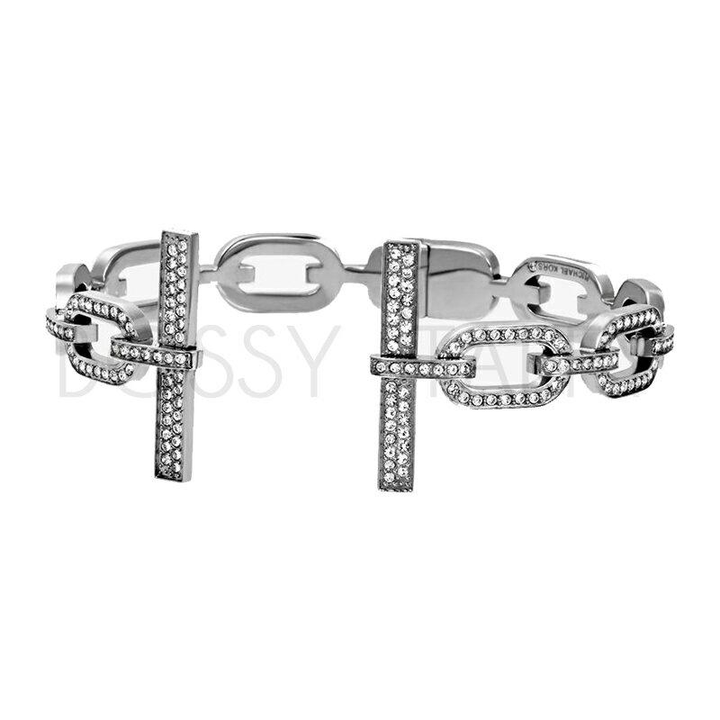 MICHAEL KORS 經典銀名媛鑲鑽袖扣手環 MK Pave Silver-Tone Cuff