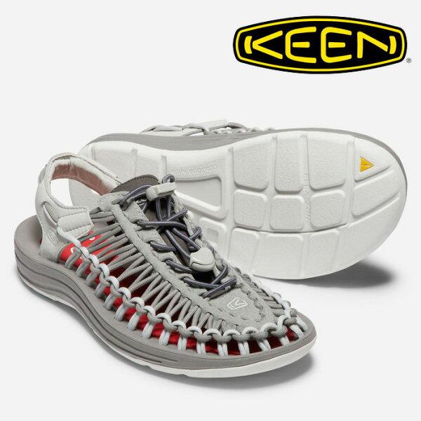 【Keen美國】UNEEKXRFW聯名限定款編織涼鞋運動涼鞋休閒涼鞋女款淺灰紅/1018694