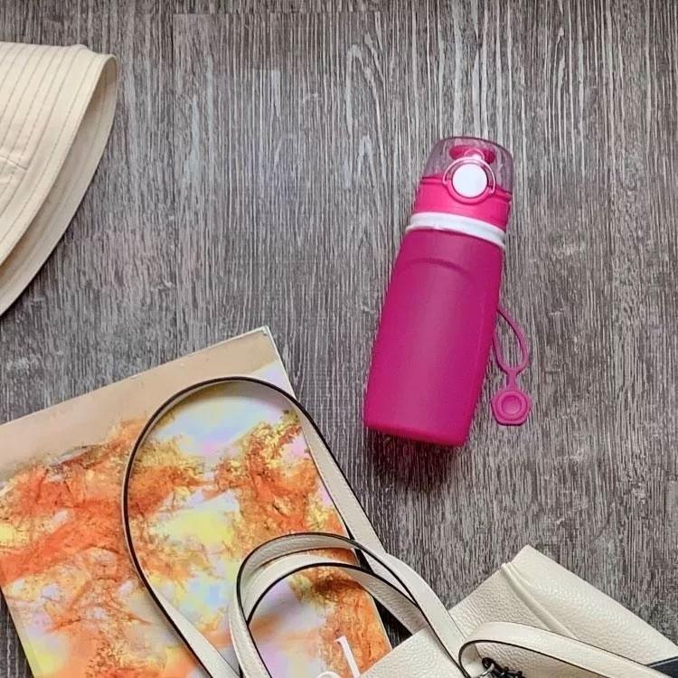 【仁舟淨塑】水壺 / 隨行杯 / 環保水瓶 捲捲矽水瓶-桃喜紅 550ml