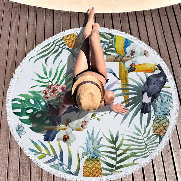 沙灘巾幾何植物印花流蘇野餐巾海灘巾圓形沙灘巾150*150【YC016】BOBI0403