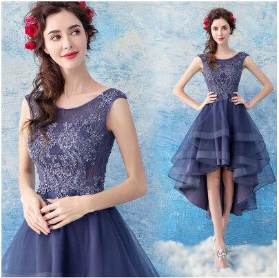 天使嫁衣:天使嫁衣【AE221】霧藍透視亮鑽修身前短後長造型禮服˙預購訂製款