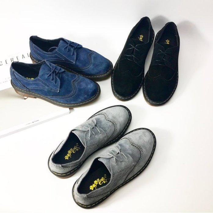 Pyf ♥ 磨砂真皮復古圓頭英倫馬丁鞋 綁帶女式牛津鞋 43 大尺碼女鞋