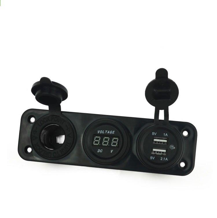 點菸器 雙USB 車充 電壓表 整合 USB 12V 速可達 行動電源 環島 機車 充電 防水 豐田 三菱 日產 鈴木