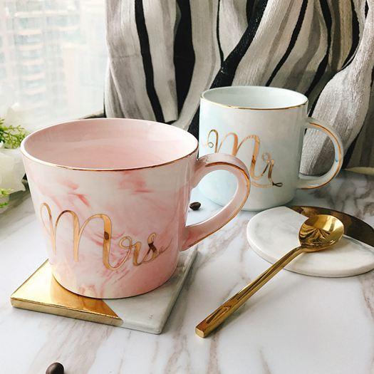 創意大理石紋陶瓷杯歐式金邊馬克杯辦公水杯子男女情侶咖啡杯禮物