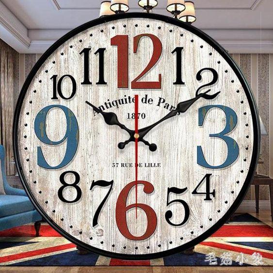 美式復古鐘表掛鐘客廳掛表創意潮流墻鐘現代簡約表家用時間鐘