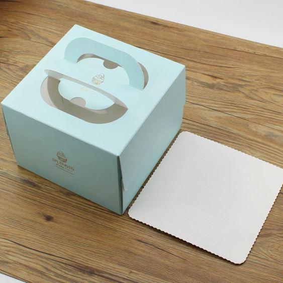生日蛋糕盒寸寸純色簡約歐式奶油千層手提盒子帶紙托烘焙包裝