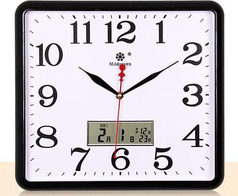 掛鐘七王星方形電子掛鐘客廳靜音鐘錶家庭創意時尚藝術萬年日歷石英鐘