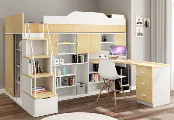 高架床多功能組合床上下鋪床成人現代簡約上床下桌兒童家具高低床雙層床DF