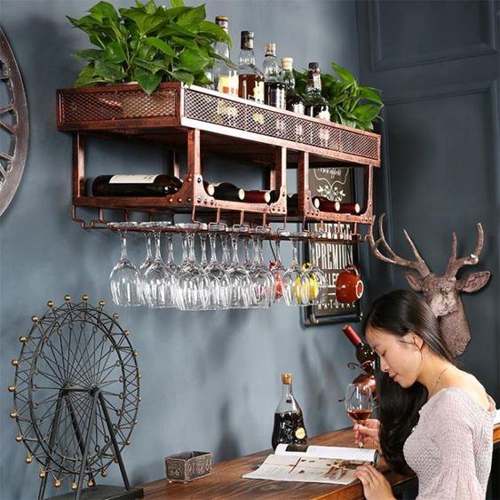紅酒架壁掛酒架酒瓶架紅酒杯架倒掛酒吧鐵藝酒架創意墻上酒櫃掛杯架家用