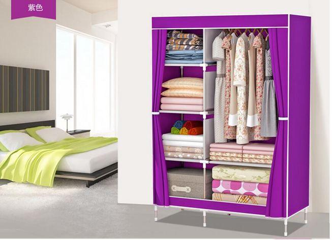 衣櫃索爾諾加固布衣櫃鋼管加粗加厚簡易衣櫃防塵組裝摺疊組合布衣櫥