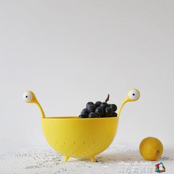 北歐風格超萌大眼怪塑料水果盤家用創意可愛果盆廚房洗菜盆瀝水籃