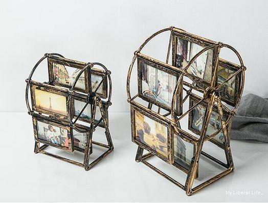 臥室擺飾創意個性摩天輪裝飾品小擺件歐式復古臥室相框擺臺擺設