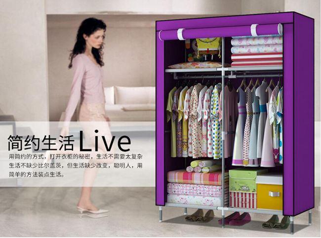 衣櫃索爾諾加高腳防潮布衣櫃單人簡易衣櫃加固防塵衣櫥
