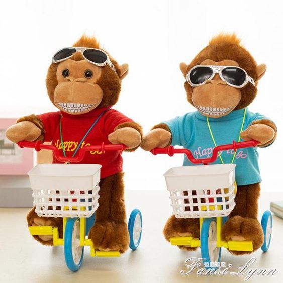 電動毛絨玩具狗狗會唱歌的自行車小毛驢會騎單車的猴子玩具豬