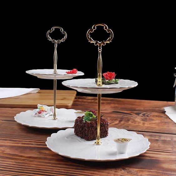 碟子HYU下午茶點心架蛋糕家用陶瓷雙層水果盤甜品臺零食托盤