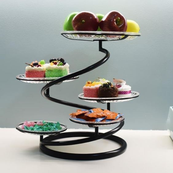 碟子鐵藝多層水果盤蛋糕架創意客廳下午茶點心托盤婚慶小吃糕點臺