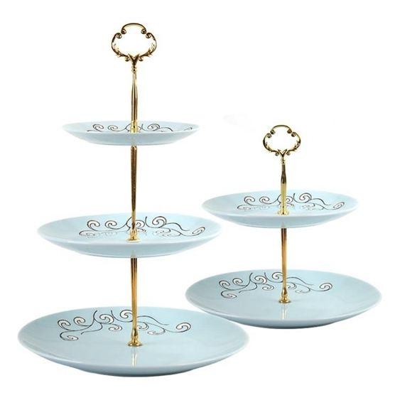 碟子HYU點心架陶瓷蛋糕架水果架下午茶點心放置架零食點心托盤