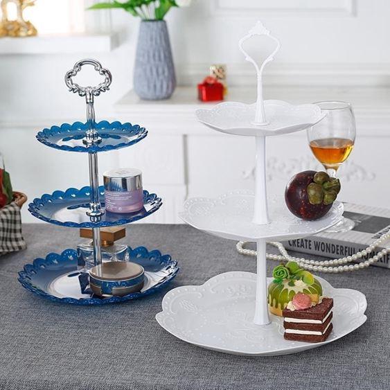 碟子塑料水果盤糖果盤家用多層蛋糕架干果盤創意茶點心甜品臺