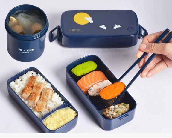 便當盒日本雙層飯盒便當盒日式餐盒可微波爐加熱塑膠分隔餐盒男女