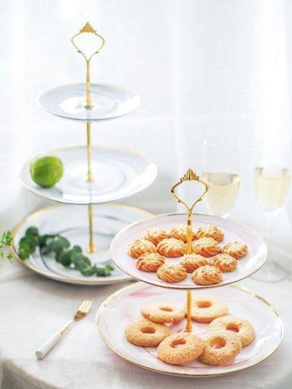 碟子甜品臺陶瓷串盤雙層水果盤多層蛋糕架子婚慶生日派對