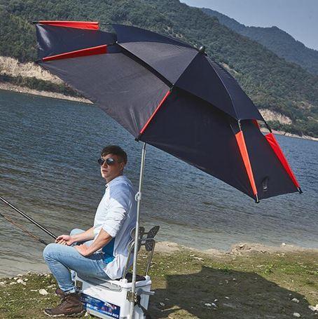 遮陽傘釣魚傘大釣傘2.4米萬向防雨戶外釣傘折疊遮陽防曬加厚垂釣漁傘-