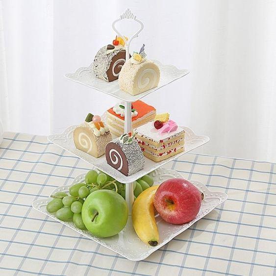 碟子塑料水果盤下午茶點心蛋糕架創意干果多層托盤甜品臺生日禮品