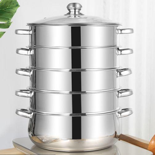 蒸籠28-40CM三層四層五層加厚復底不銹鋼蒸鍋家用饅頭超大3層4層蒸籠