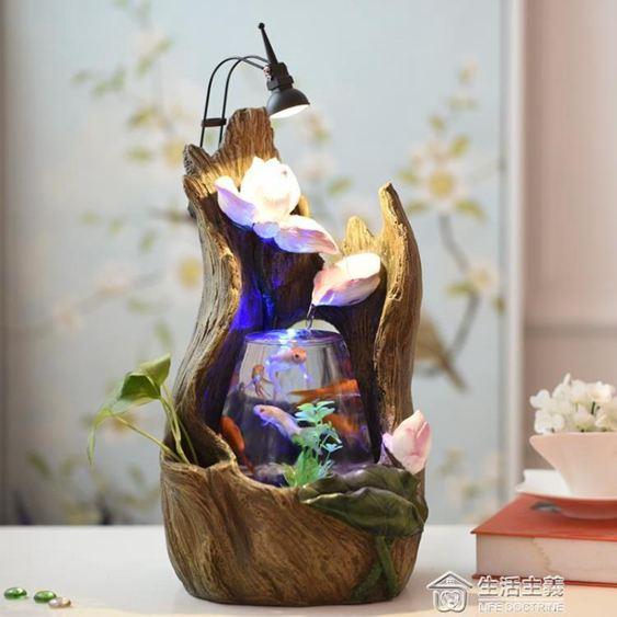 創意辦公室風水招財玻璃迷你桌面圓形生態小魚缸客廳新款小水族箱