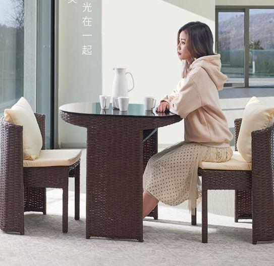 籐椅三件套陽臺小桌椅家用室外藤編椅子茶幾組合簡約休閒戶外茶桌籐椅三件套