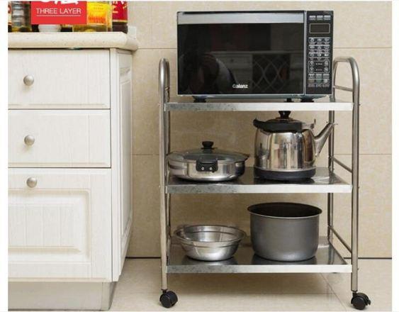 瀝水架創步不銹鋼廚房落地多層微波爐烤箱收納架儲物用品鍋碗架子