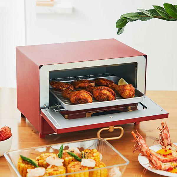 電烤箱日本單層復古小烤箱家用小型烤箱K-TS2中國紅12L