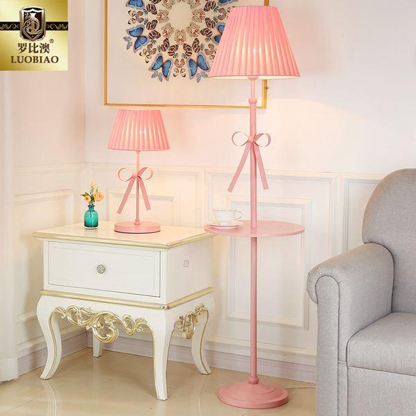 落地燈歐式落地燈兒童房客廳臥室創意北歐簡約溫馨公主粉色女孩立式臺燈