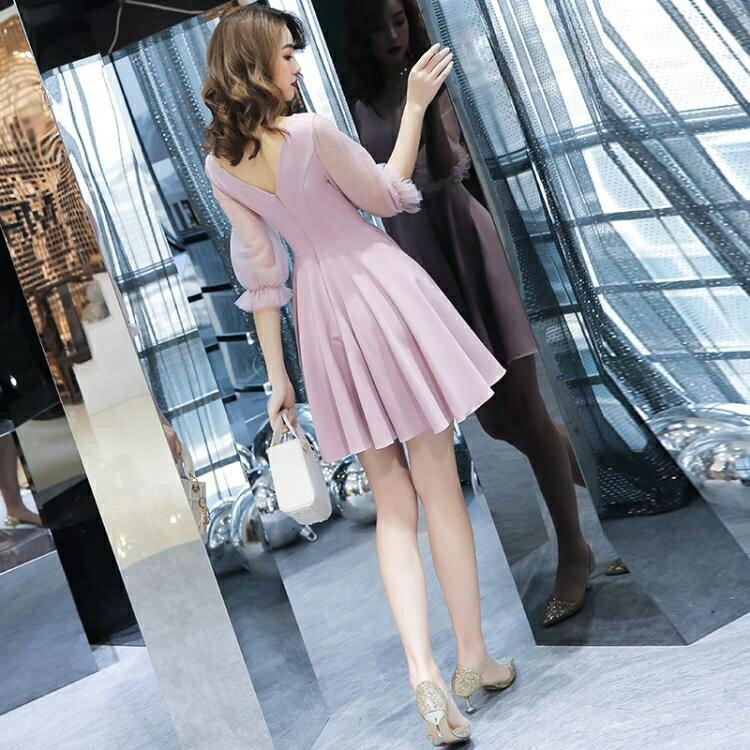 禮服 粉色晚禮服女新款短款高貴氣質優雅名媛聚會派對小禮服連身裙