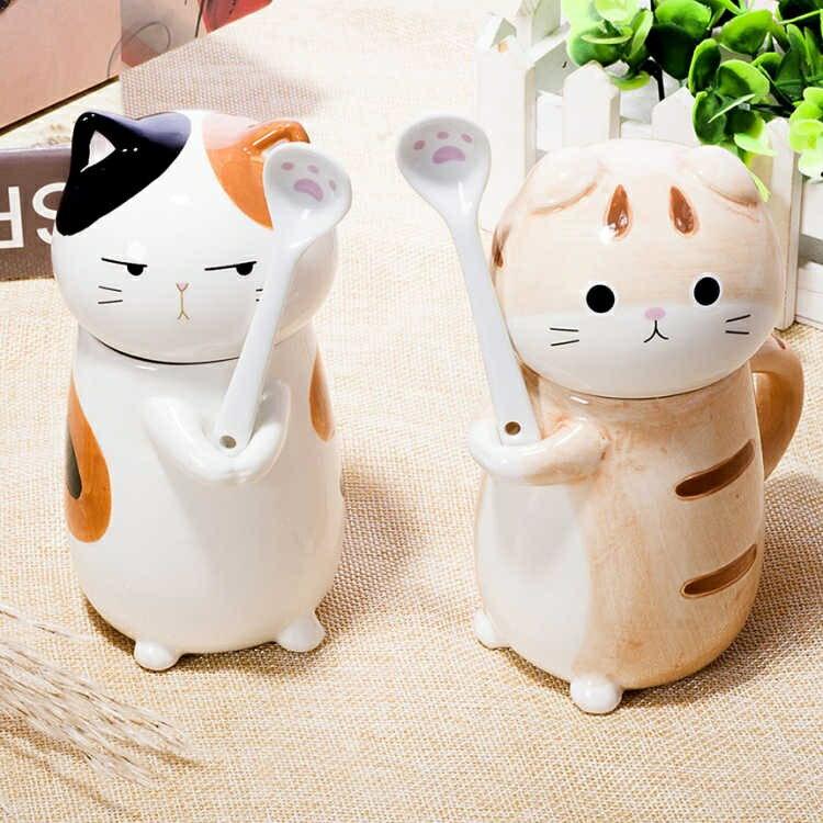貓爪杯貓咪動物杯子創意陶瓷馬克杯生日禮物帶杯蓋勺子400ml