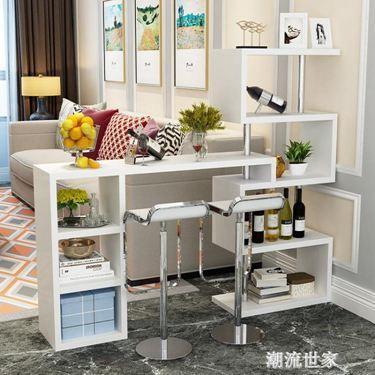 定制帶櫃簡約現代家用靠墻旋轉小吧臺桌簡易玄關酒櫃客廳屏風隔斷