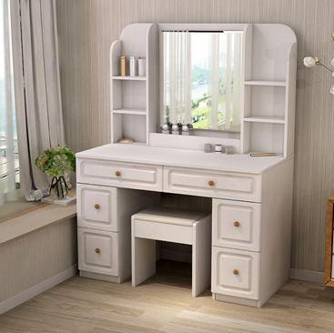 梳妝臺臥室簡約現代小戶型書桌一體組裝化妝桌實木色桌子帶鏡子ZCMBS