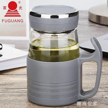 富光玻璃杯男女士辦公室水杯帶把手花茶杯加厚過濾帶蓋杯子大容量