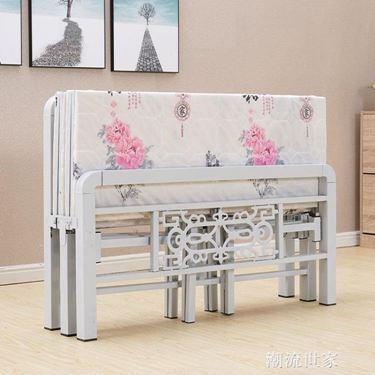 BYUP可折疊床四折床木板床出租房簡易1.5米床鐵藝床單人床雙人床