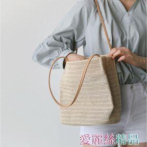 帆布包 包包女韓版手提草編沙灘包度假大容量簡約編織側背水桶包居家物語生活館