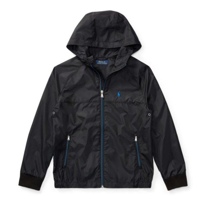 美國百分百【全新真品】Ralph Lauren 小馬 RL 輕量 風衣 連帽 外套 騎士 夾克 POLO 黑色 青年版 I738