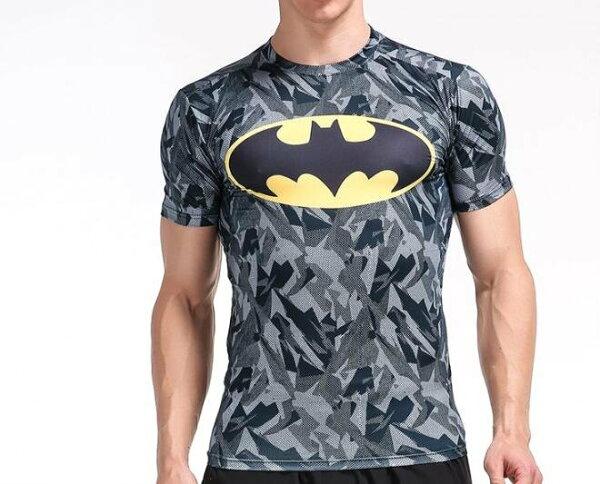 FINDSENSEMD日系時尚男胸前蝙蝠標高彈力緊身運動短T訓練服跑步健身T恤3D圖案短袖T恤