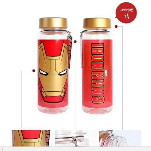 鋼鐵人塑膠水瓶保冷水壺保冷杯隨身杯透明瓶身500ML韓國進口正版044954