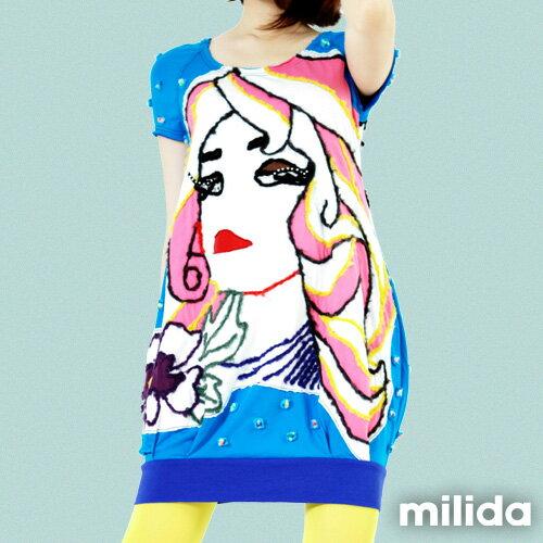 【Milida,全店七折免運】-夏季商品-拼貼款-插畫情人洋裝 6