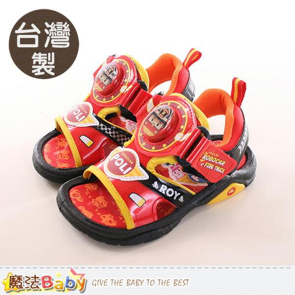 男童涼鞋 台灣製POLI正版閃燈運動涼鞋 魔法Baby~sa71102