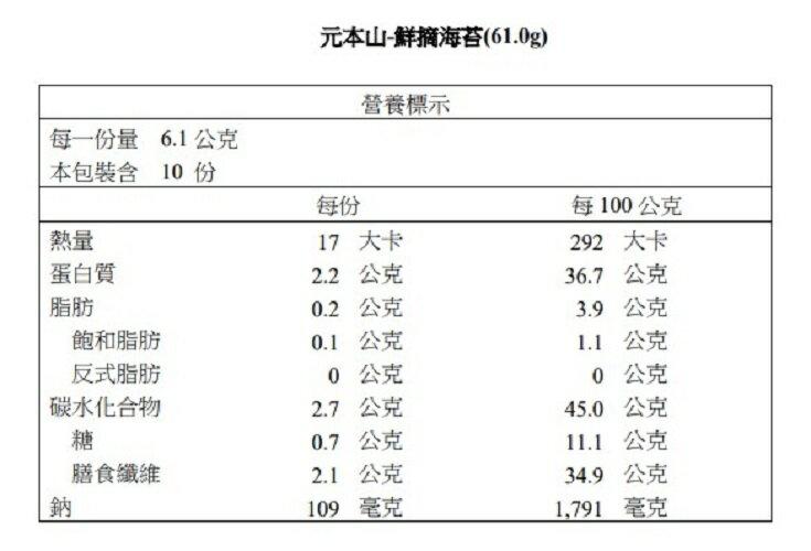 【元本山】鮮摘海苔(61.0g)
