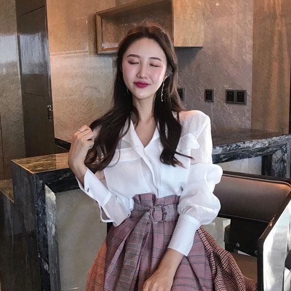 雙口袋微透襯衫長袖薄性感甜美顯瘦遮陽白素色上班族韓國ANNAS.