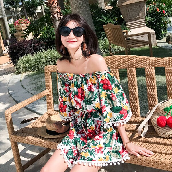 PS Mall 一字肩印花連身短褲裙度假旅遊沙灘裙【T583】 1