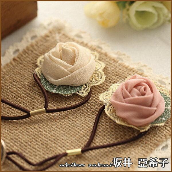 『坂井.亞希子』手作布藝蕾絲絹紗葉子玫瑰花朵髮圈